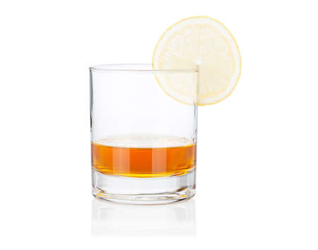 cognac: Cognac glass with lemon isolated on white background