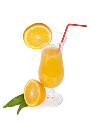 alcohol screwdriver: Cocktail glass set  Hurricane with orange juice and orange slice isolaed on white background