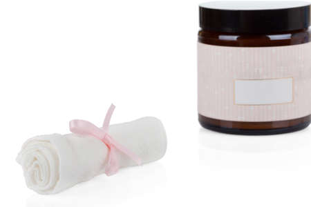 muslin: Cosmetics set  Organic Muslin cleansing cloths and organic skincare cream Stock Photo