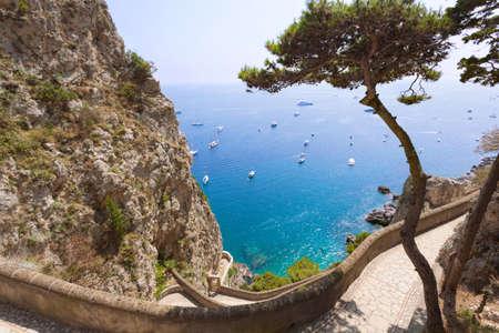 Amazing sea view from Capri mountains, Italy photo