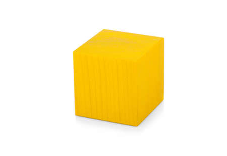 yellow block: Wooden yellow block, colorful cube, childrens toy isolated on white background