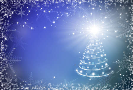 Christmas blue background with snowflakes frame and Christmas tree photo