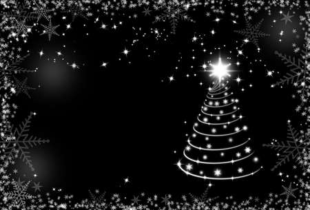 merry chrismas: Christmas black and white background with snowflakes frame and Christmas tree