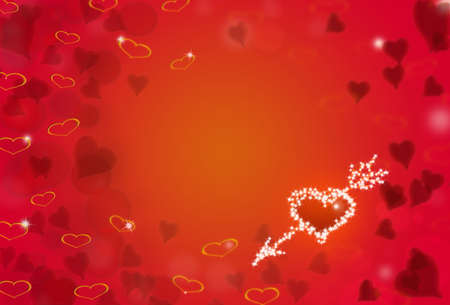 St.Valentine red background with shining heart shape stars and bokeh photo