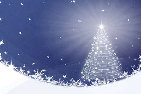 christmas tree illustration: Magic Christmas tree background illustration on blue