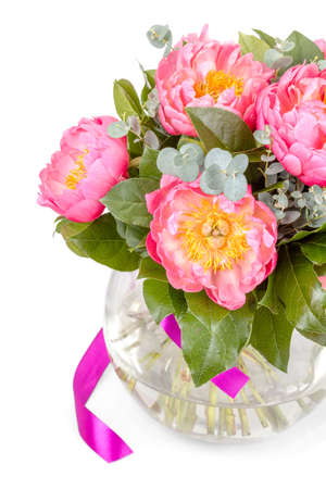 love card: Amazing bouquet of pink pions on white background