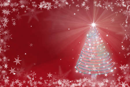year curve: Magic Red Chritmas tree background illustration