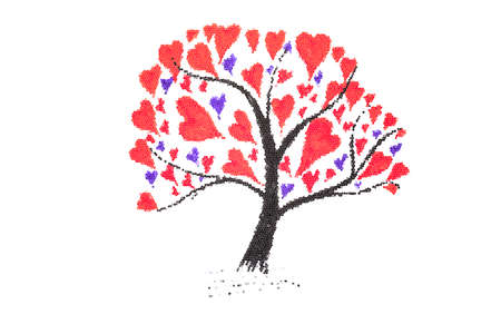 love tree: Mosaic Filtered Valentine card with ink drawing of tree with hearts Stock Photo