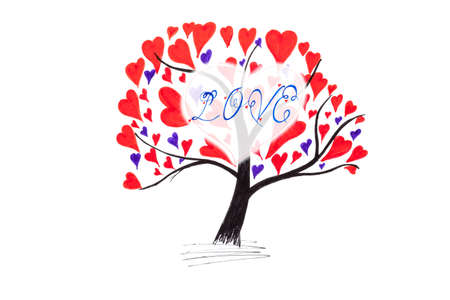 happieness: Handmade Valentine card with ink drawing of tree with hearts