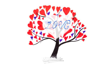 happieness: Valentine card with tree and hearts isolated on white