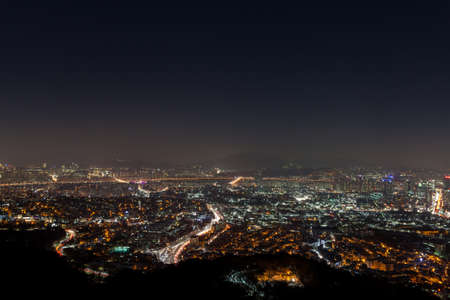 wideview: Seoul, South Korea cityscape wideview in winter