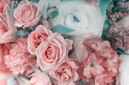 Amazing flower bouquet arrangement close up in pastel colors 版權商用圖片
