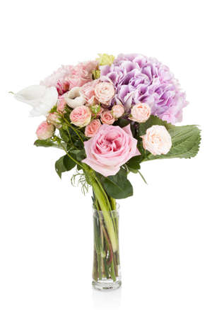 Beautiful professional dishevelled bouquet of flowers isolated on white background Zdjęcie Seryjne