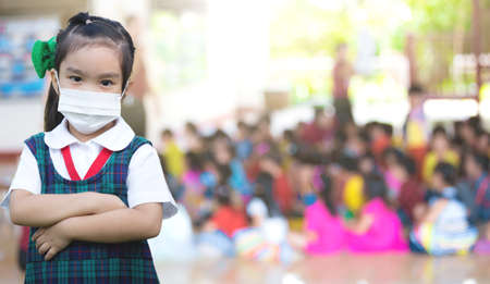 Healthcare - girl wearing a protective mask Foto de archivo