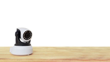 ip cam: Security camera on Wood table. IP Camera.