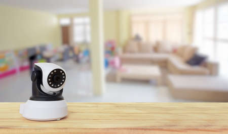 ip: Security camera on Wood table. IP Camera.