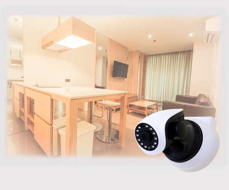 ip camera: Security camera on Wood table. IP Camera