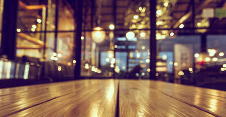 blurred background of bar and desk space of retro wood