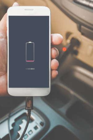 Charger plug phone on car Stok Fotoğraf
