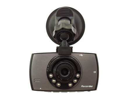 Car DVR Front camera car recorder on white background Foto de archivo