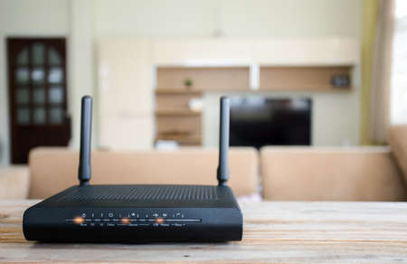 closeup of a wireless router on living room at home