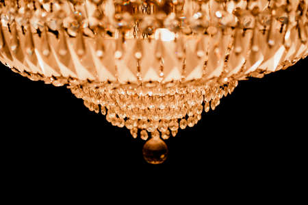 chandelier background: close-up  Chrystal chandelier. black background with copy space. Stock Photo