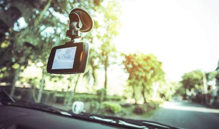 車 DVR フロント カメラ車のレコーダー 写真素材