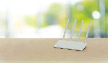 wireless router on living room at home