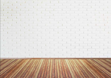 Vintage old  wooden floor texture with white brick wall for background