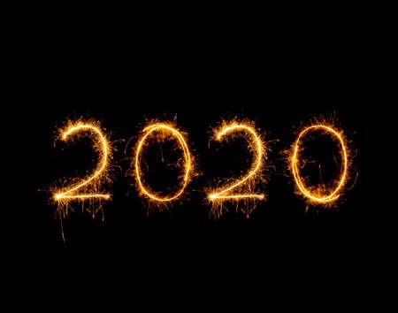 2020 written with Sparkle firework 스톡 콘텐츠 - 120607592