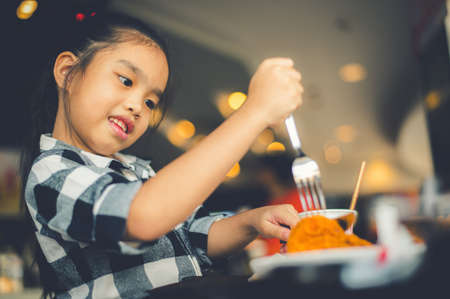 Asian Children Eating Fried Chicken Food Court Imagens