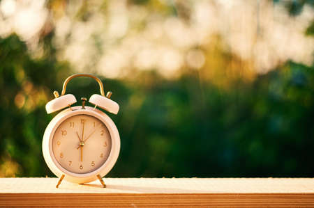 Clock on wood in the morning, blurred nature background Archivio Fotografico