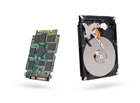 hard disk and SSD  solid state  drive with sata 6 gb isolated on white background Imagens