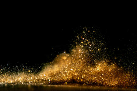 glitter vintage lights background. gold and black. de focused Imagens - 122399779