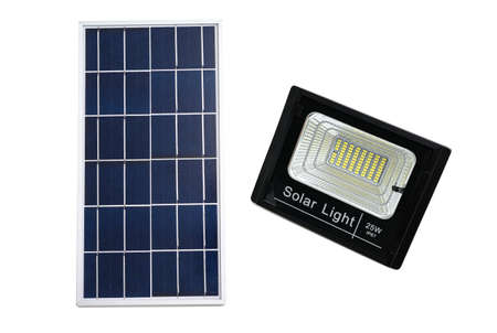 solar panel with LED light for home isolated on white background. 版權商用圖片 - 129271285
