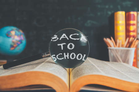 Back to School background concept. School supplies on a wood table background. Education background concept 版權商用圖片