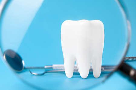 Dental model and dental equipment on Grey background, concept image of dental background. 版權商用圖片