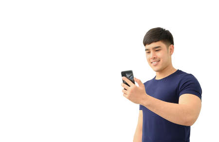 Happy male using smartphone isolated on white background