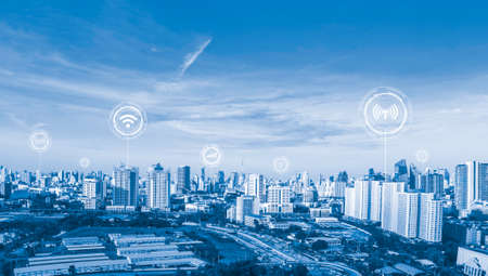 icons wifi, internet, communication,  of technology for smart city conceptual 版權商用圖片