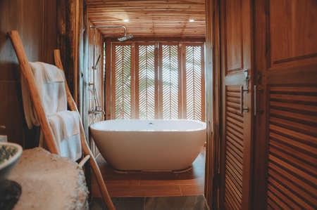 Beautiful luxury white bathtub decoration in bathroom interior for relax leisure 版權商用圖片
