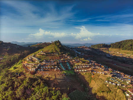 Top view aerial photo from flying drone of  Doi Mon Jam Camping Tent Tourist attractions in Mae Rim District Chiangmai Province Thailand 版權商用圖片