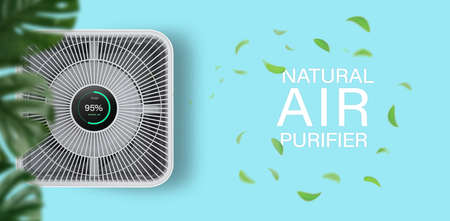 Air purifier on bule background with filter for cleaner removing fine dust PM2.5 Фото со стока