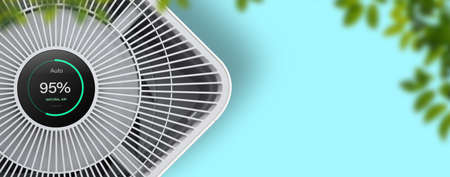 Air purifier on blue background with filter for cleaner removing fine dust PM2.5