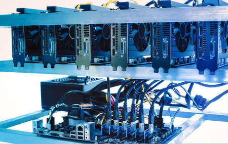 Cryptocurrency bitcoin ethereum altcoin graphic card miner mining rig. Computer for Bitcoin mining, isolated on white background