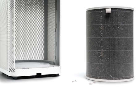 The filter of the air purifier have a lot of dust after use for long time  on white  background