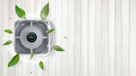 air purifier a living room, air cleaner removing fine dust in house. protect PM 2.5 dust and air pollution concept Foto de archivo