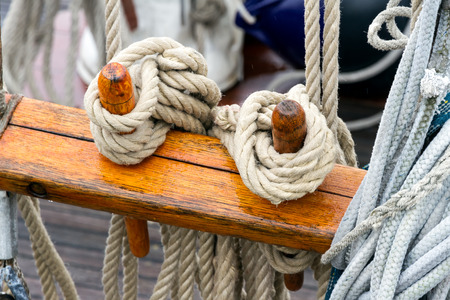 Rigging on a sailing ship in the details