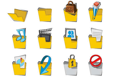 Doodled Folder Icon Collection Set Stock Vector - 14434438