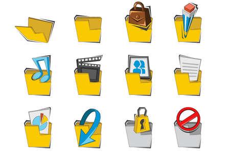 doodled: Doodled Folder Icon Collection Set Illustration