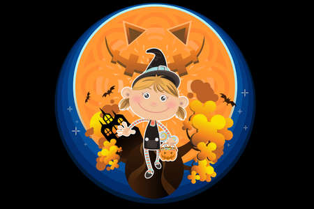 Smiling Halloween Girl with Pumpkin and Candy Vector